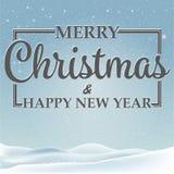 Glad julkort-, jul- och snöflingaillustration Arkivfoto