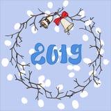 Glad julkort Julkran med klockor Vektorn sparar vektor illustrationer