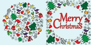 Glad julkort med cororful julgarnering tecknad hand stock illustrationer