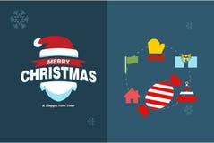 Glad julkort med den elegent design och typografivektorn fotografering för bildbyråer