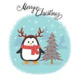 Glad julkort med den gulliga pingvinet och gran-trädet royaltyfri illustrationer