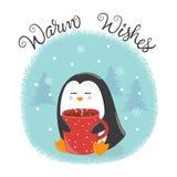 Glad julkort med den gulliga pingvinet och koppen av varmt te vektor illustrationer