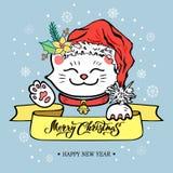 Glad julkort med den Maneki Neko katten med Santa Claus royaltyfri illustrationer