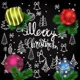 Glad julkort med det realistiska granträdet, bollar, garneringar och hand drog julbeståndsdelar på det chalkboar stock illustrationer