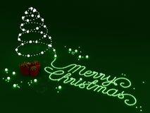 Glad julkort med ett julträd som göras från glödande jordklot Arkivbilder