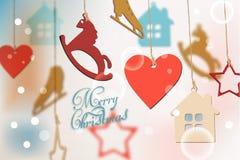 Glad julkort med färgrika roliga illustrationer för garneringvektorvattenfärg royaltyfri illustrationer