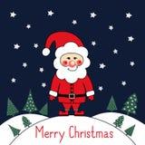 Glad julkort med gulliga Santa Claus, xmas-träd och stjärnor på mörker - blå bakgrund Arkivbild