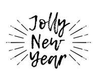 Glad julkort med sunbursten och kalligrafi Jolly New stock illustrationer