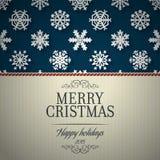 Glad julkort- och snöflingagarneringbakgrund Royaltyfri Bild