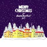 Glad julkort också vektor för coreldrawillustration lyckligt nytt år Royaltyfria Foton