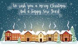 Glad julkort också vektor för coreldrawillustration lyckligt nytt år Arkivfoto