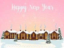 Glad julkort också vektor för coreldrawillustration lyckligt nytt år Royaltyfria Bilder
