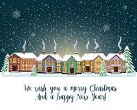 Glad julkort också vektor för coreldrawillustration lyckligt nytt år Arkivbild