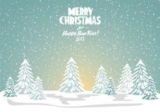 Glad julkort också vektor för coreldrawillustration lyckligt nytt år Royaltyfri Bild