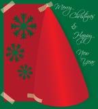 Glad julkort som göras från vikt papper Arkivbild