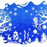 Glad julkort, vinterlandskap Arkivbild