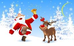 Glad jultomten och ren fotografering för bildbyråer