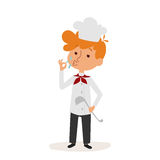 Glad little boy chefcute young dressed cook scoop on white background vector profession character person uniform worker Stock Photo