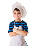 Glad little chef. Standing isolated on white stock images
