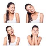 Glad lycklig flickakomposit Arkivfoton