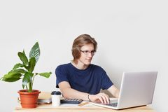 Glad male enterpreneur checkes report online, sits in front of opened laptop, keyboards, surrounded with takeaway coffee, calculat Royalty Free Stock Image