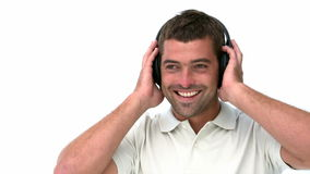 Glad man listening music Royalty Free Stock Images