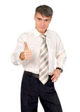 Glad man in a tie, isolated. Royalty Free Stock Image