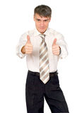 Glad man in a tie, isolated. Royalty Free Stock Photo