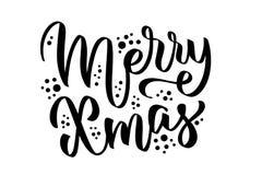 Glad X-mas hand-skriftlig text, ord, typografi, kalligrafi, hand-bokstäver Lyckönskan på julferie royaltyfri illustrationer