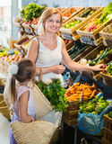 Glad mother with daughter shopping various veggies Stock Image