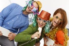 Glad nytt års musikband för helgdagsaftonkontor royaltyfri bild