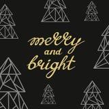 Glad och ljus handskriven guld- bokstäver med triangelkonst Fotografering för Bildbyråer