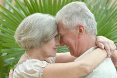 Glad old people at the resort Stock Photography