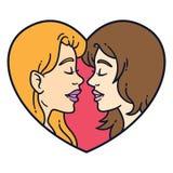 Glad parförälskelse Lesbisk förälskelse royaltyfri illustrationer