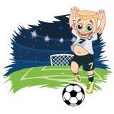 Glad pojke som spelar fotboll stock illustrationer