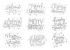 glad set för jul Design för bokstäver för kort för lyckligt nytt år för hand utdragen Det gulliga klottret ställde in av jul som  vektor illustrationer