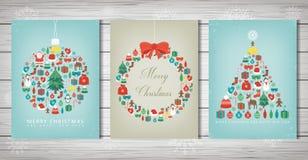 glad set för jul Samlingar för hälsningkort med julbeståndsdelar vektor stock illustrationer