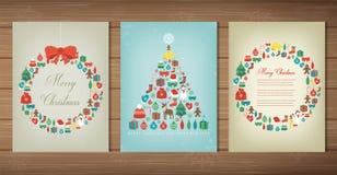 glad set för jul Samlingar för hälsningkort med julbeståndsdelar vektor vektor illustrationer
