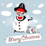 glad snowman för jul stock illustrationer