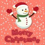 glad snowman för jul Fotografering för Bildbyråer