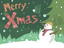 glad snowman för kortjul Arkivbilder