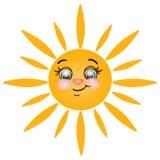 Glad sol på vit bakgrund Arkivfoto