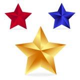 glad stjärna för julillustration guld blått och rött Arkivbild