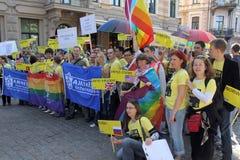 Glad stolthet i Riga 2008 Arkivfoto