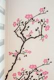 Glad tapet för blomningträdklistermärke Arkivbild