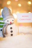 glad teckensnowman för jul Arkivfoton