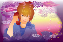 Glad tidings. This illustration depicts a boy reports a good new,  for him good mood Royalty Free Stock Image