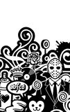 We Are Glad To See You!. Dirty Black And White Illustration Royalty Free Stock Image