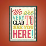 Glad to See You Abstract Retro Poster With Royalty Free Stock Images