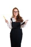 Glad ung affärskvinna med minnestavla-PC Arkivbilder